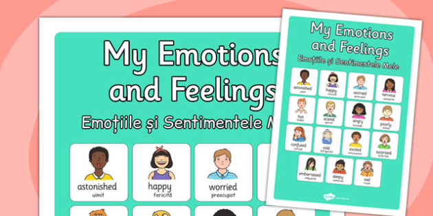 My Emotions and Feelings Vocabulary Poster Romanian Translation - romanian