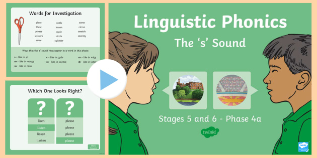 Northern Ireland Linguistic Phonics Stage 5 and 6, Phase 4a, 's' Sound PowerPoint  - NI, Irish, Sound Search, Word Sort, Investigation, Phoneme, Grapheme, Letter