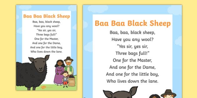 Baa Baa Black Sheep Nursery Rhyme Display Poster