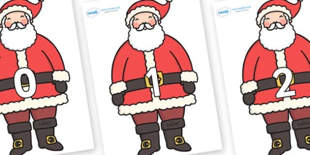 Numbers 0-31 on Santa - 0-31, foundation stage numeracy, Number recognition, Number flashcards, counting, number frieze, Display numbers, number posters