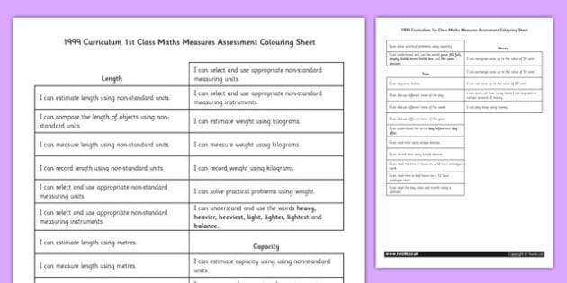 1999 Curriculum 1st Class Maths Measures Assessment Targets Colouring Sheet - roi, irish, republic of ireland