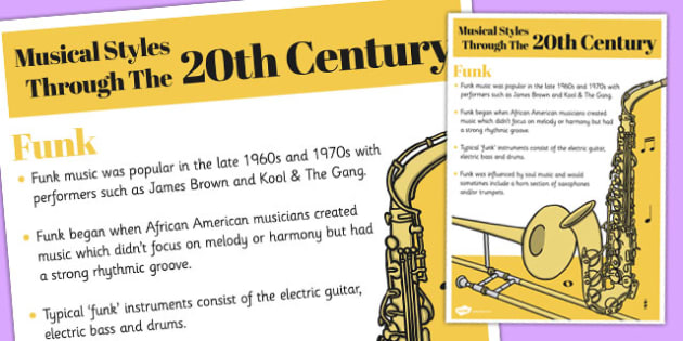 Musical Styles Through the 20th Century: Funk Information Poster