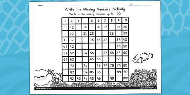 Great Barrier Reef Missing Numbers Number Square - australia