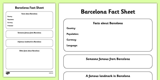 Barcelona Fact Sheet Writing Template - barcelona, fact sheet, writing template, write, template