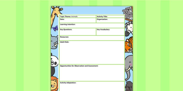 Animal Themed Adult Led Focus Planning Template - animals, plan