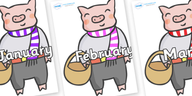 Months of the Year on Little Piggy - Months of the Year, Months poster, Months display, display, poster, frieze, Months, month, January, February, March, April, May, June, July, August, September