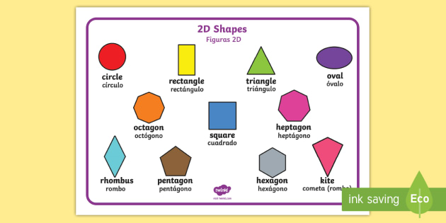 2d Shape Word Mat English Spanish 2d Shape Word Mat