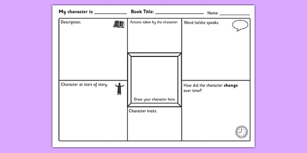 character study worksheet activity sheet characters