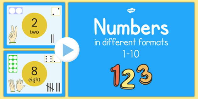 Numbers 1-10 in Different Formats Presentation - numbers, 1-10, different formats, presentation