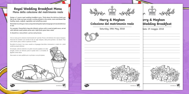 NEW Royal Wedding Breakfast Menu Activity Sheets English Italian