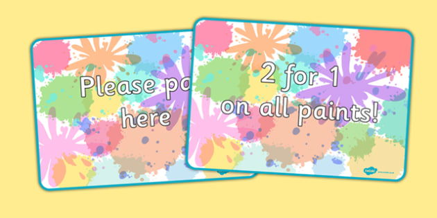 Paint Shop Role Play Signs - paint shop, role play, signs, display, paint, shop