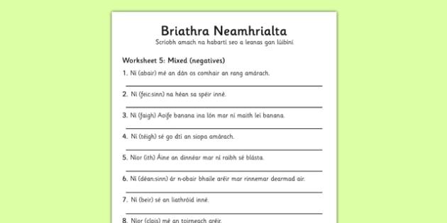 Briathra Neamhrialta Mixed Tense Negatives Worksheet Gaeilge