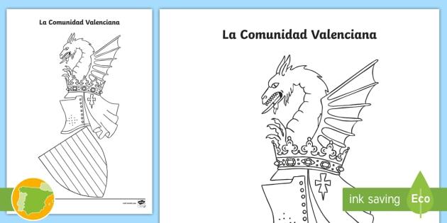 Hoja de colorear: El escudo de la Comunidad Valenciana - Mapas