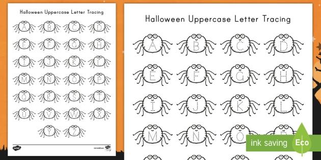 halloween uppercase letter tracing worksheet activity sheet. Black Bedroom Furniture Sets. Home Design Ideas