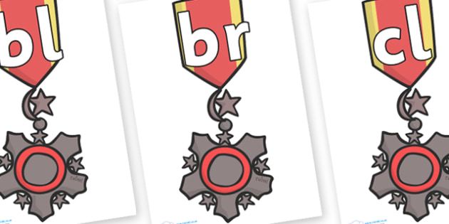 Initial Letter Blends on Medal - Initial Letters, initial letter, letter blend, letter blends, consonant, consonants, digraph, trigraph, literacy, alphabet, letters, foundation stage literacy
