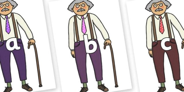 Phase 2 Phonemes on Little Old Man - Phonemes, phoneme, Phase 2, Phase two, Foundation, Literacy, Letters and Sounds, DfES, display