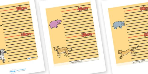 Safari Themed Height Chart - safari, safari height chart, safari ruler, safari height chart display, safari display chart, safari wall height chart