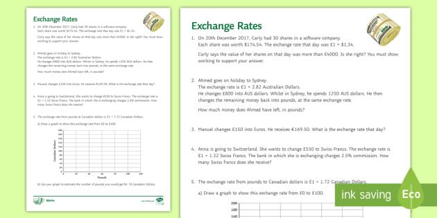 exchange rates worksheet exchange conversion currency core certificate. Black Bedroom Furniture Sets. Home Design Ideas