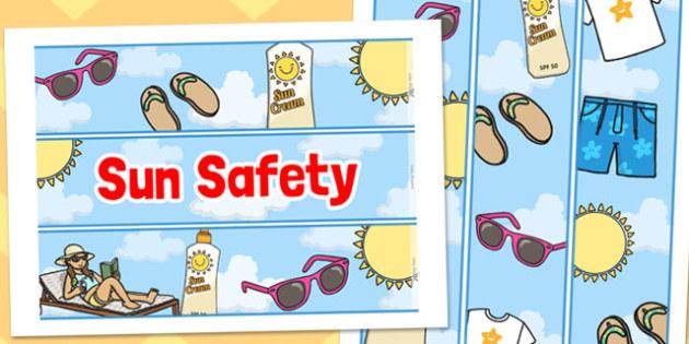 Sun Safety Display Borders - sun safety, display borders, border