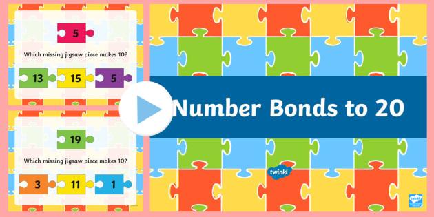 Number Bonds To 20 Jigsaw PowerPoint - New Zealand, maths