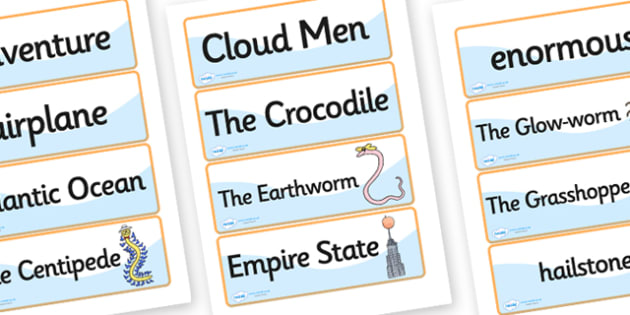 Word Cards to Support Teaching on James and the Giant Peach - word cards, james and the giant peach, giant peach word cards, word, card, story book, words, key words, flash cards