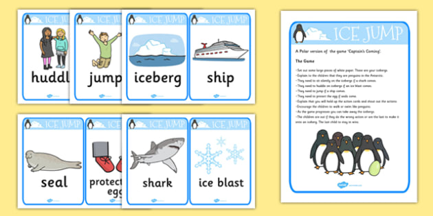 Ice Jump Activity Action Cards - action cards, ice, jump, active