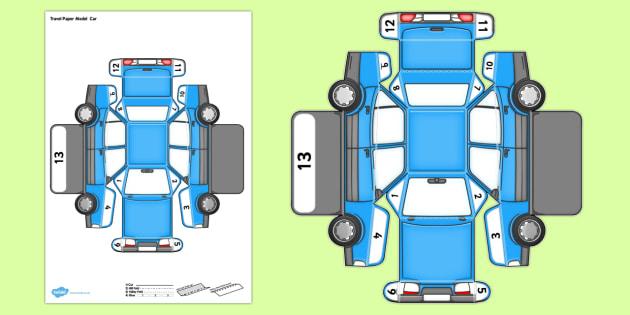 Transport Paper Model Car - model, paper, car, transport, craft