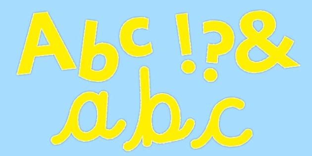 Cursive Display Lettering Symbols Pure Yellow