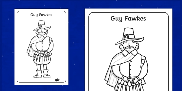 Guy Fawkes Colouring Page