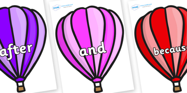 Connectives on Hot Air Balloons (Stripes) - Connectives, VCOP, connective resources, connectives display words, connective displays