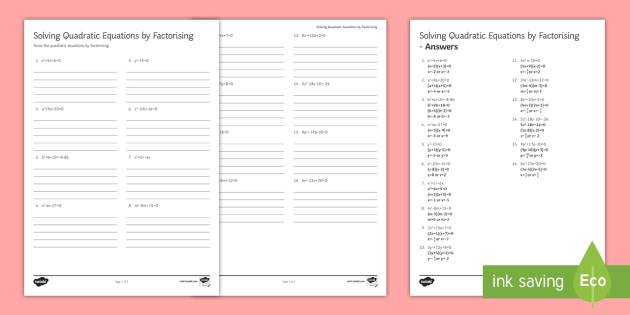 Solving Quadratic Equations By Factorising Worksheet Activity