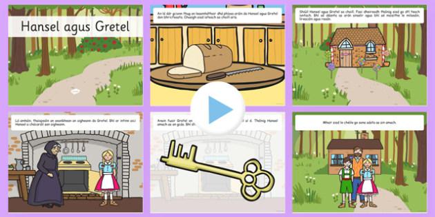 Hansel and Gretel Story PowerPoint Gaeilge - powerpoint, story, fairytale, Irish, gaeilge, hansel and gretel, food, bia