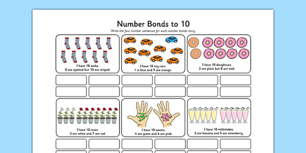 Number Bonds To 10 Stories Worksheet Number Bonds 10