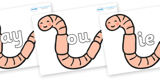 Phase 5 Phonemes on Earthworms - Phonemes, phoneme, Phase 5, Phase five, Foundation, Literacy, Letters and Sounds, DfES, display