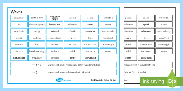Edexcel Physics Waves Word Mat - Word Mat, edexcel, gcse, physics, wave, waves, transverse, longitudinal, wavelength, water waves, ri