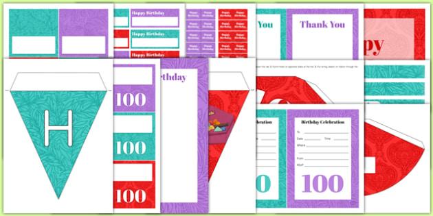 100th Birthday Party Pack - 100th birthday party, 100th birthday, birthday party, party pack