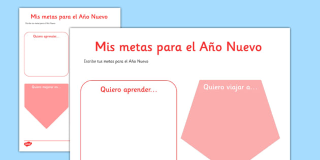 Mis metas para el Año Nuevo Spanish Activity Sheet - spanish, New Year's, resolutions, goals, metas, propósitos, escribir, Spanish, Español, dictionary, worksheet