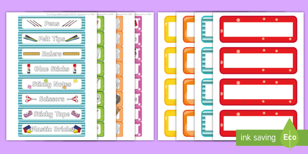Editable Multicolour Peg, Drawer and Equipment Tray Labels - coat hook labels, drawer labels, tray labels, cloakroom, classroom equipment