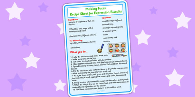 Expression Biscuits Recipe Sheet - ourselves, cooking, cook