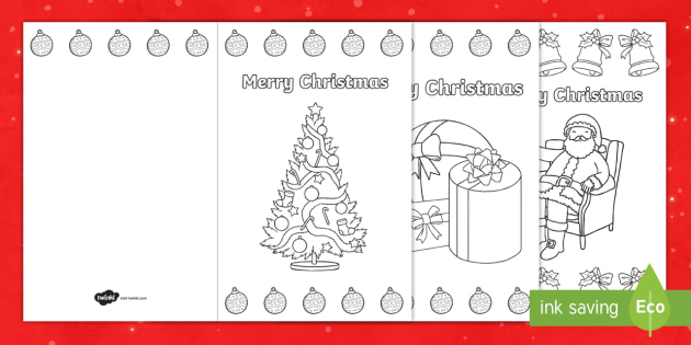 Christmas Coloring Cards - Merry Christmas (teacher Made)
