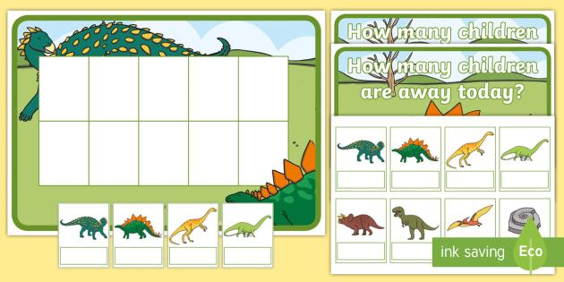 dinosaur editable self registration ten frame resource pack