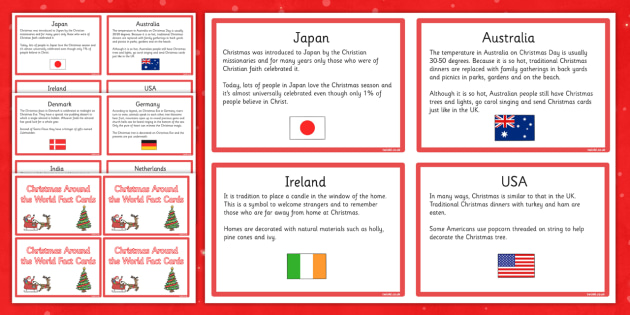 Christmas Around the World Fact Cards - christmas, around the world, fact cards, fact, cards