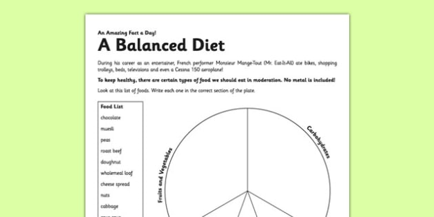 A Balanced Diet Activity Sheet - eat healthy, balanced diet, diet, activity, worksheet
