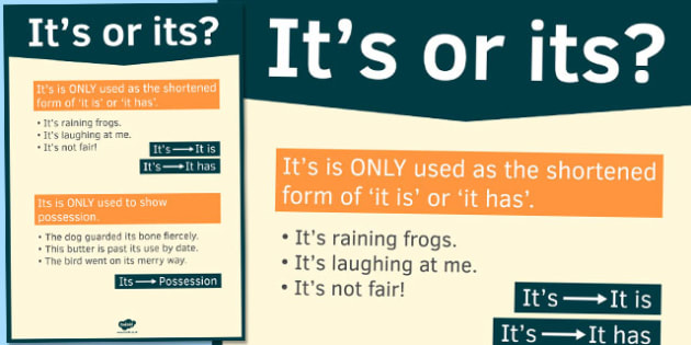 It's or Its Poster - it's, its, poster, display, apostrophe