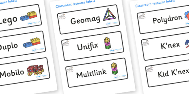 Swan Themed Editable Construction Area Resource Labels - Themed Construction resource labels, Label template, Resource Label, Name Labels, Editable Labels, Drawer Labels, KS1 Labels, Foundation Labels, Foundation Stage Labels