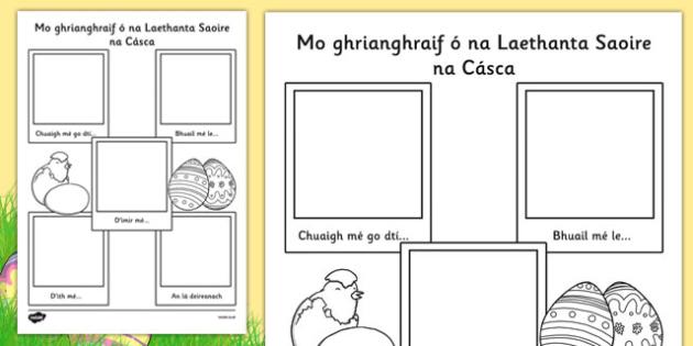 Easter Holiday Snapshots Writing Frame Gaeilge - religion, celebrations