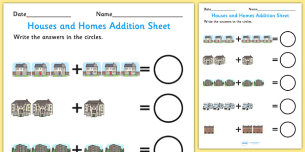 Houses and Homes Addition Sheet - houses and homes, addition sheet, houses and homes themed addition sheet, addition worksheet, houses and homes theme