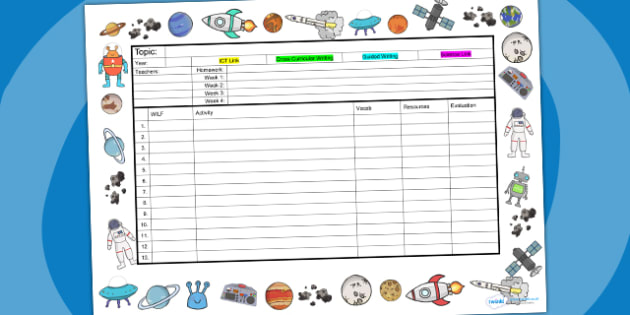 Space Themed Editable Mid Term Planning Template - lesson plan