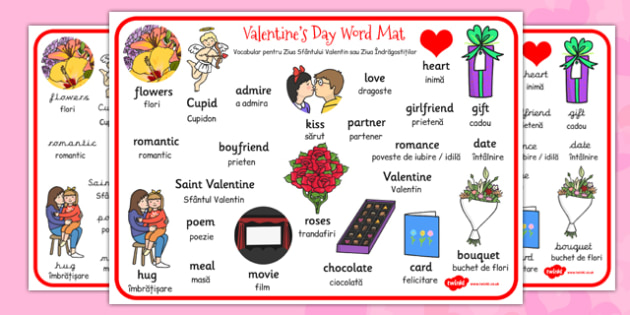 Valentines Day Word Mat EAL Romanian Translation - romanian