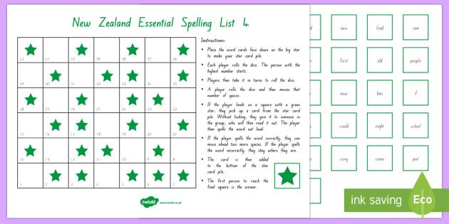 New Zealand Essential Spelling List 4 Board Game - spelling, literacy, list 4, essential spelling, nz, new zealand